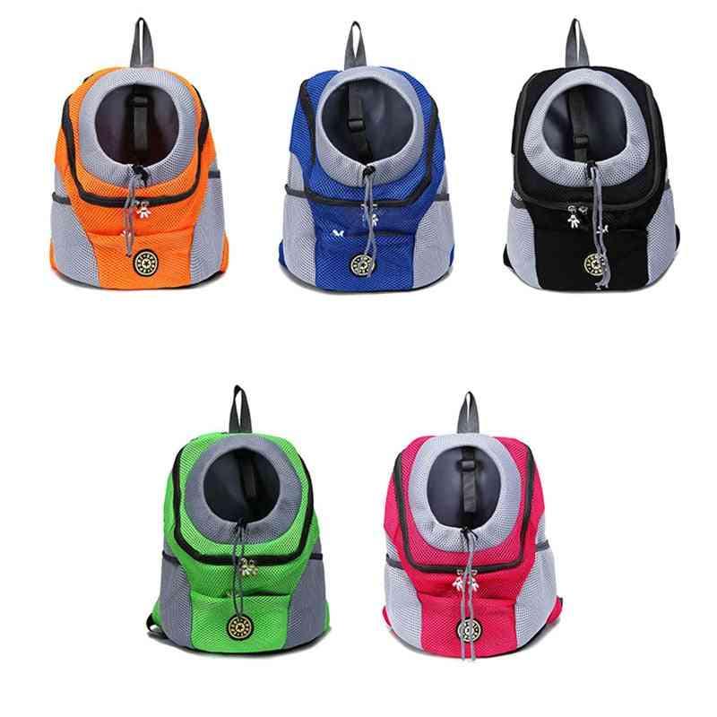 Double Shoulder Portable Dog Carrier Travel Backpack Mesh Bag