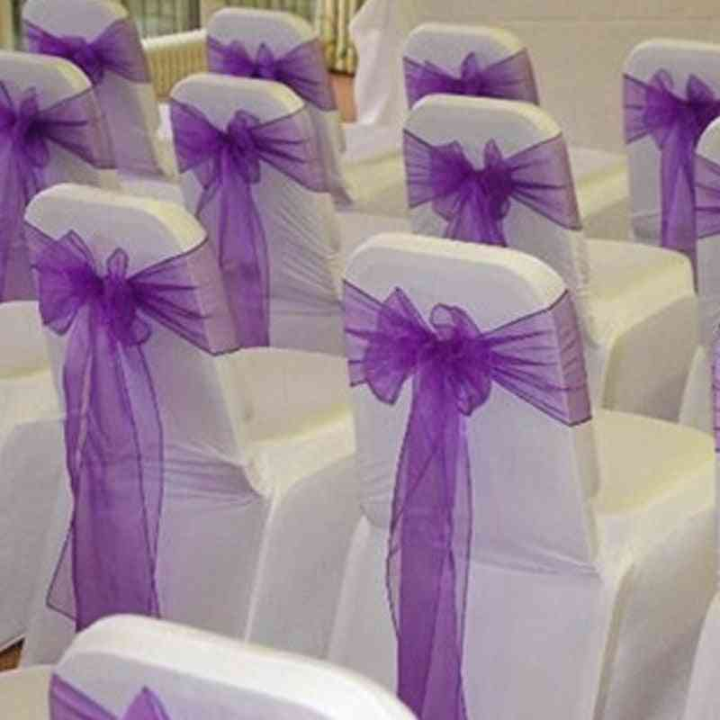 Flower Shaped, Organza Material Sash-chair Cover For Wedding Party Decorations
