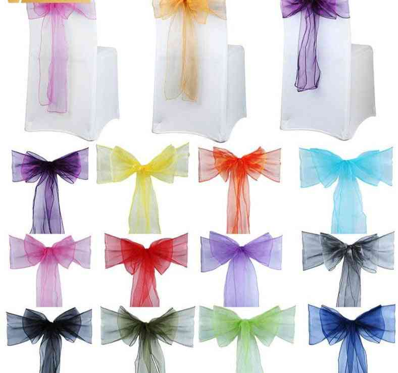 50pcs Organza Chair, Sashes, Knot For Weddings Banquet Decoration