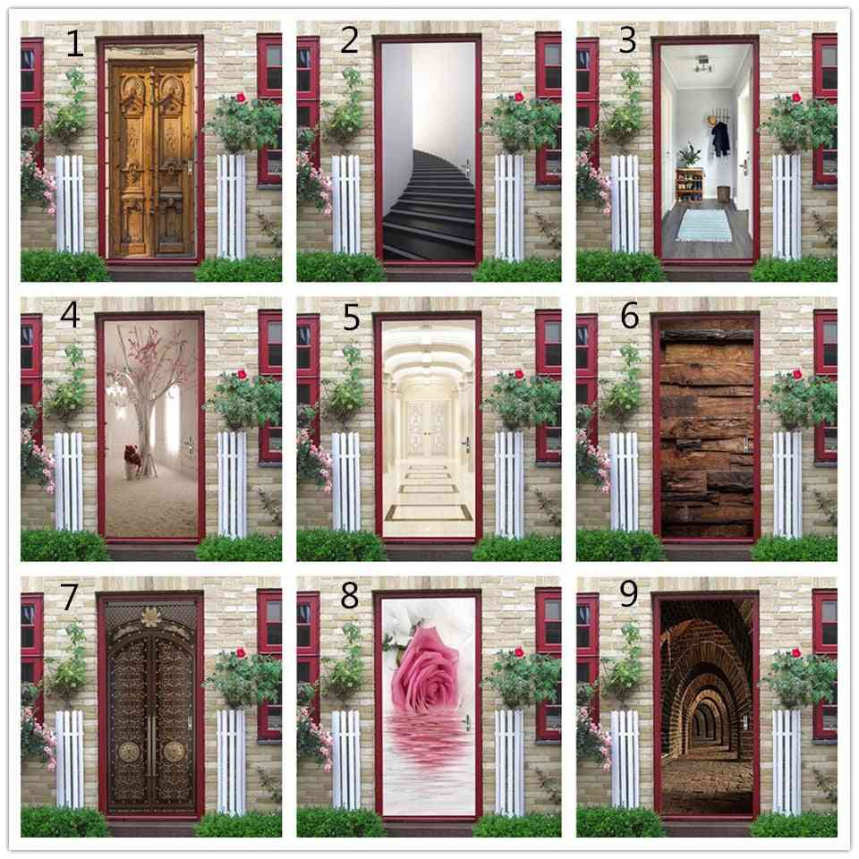 Different Style Waterproof Library Door Sticker, Self Stick Wallpaper For Home Decoration