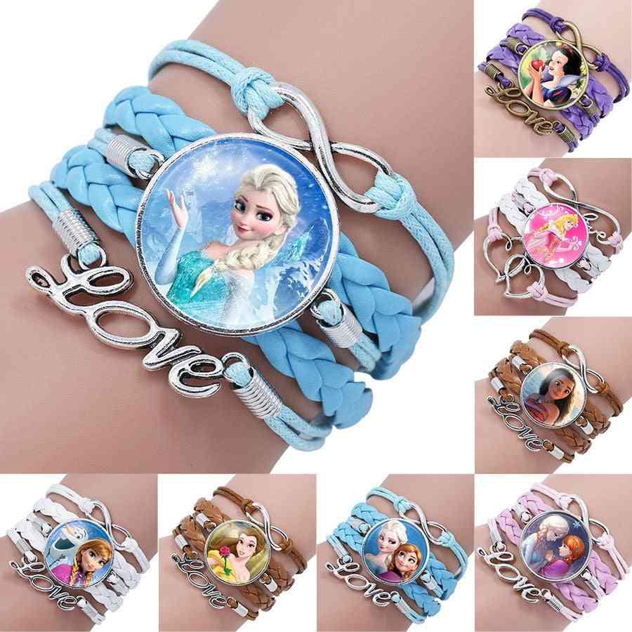 Disney Princess Children Cartoon Bracelet - Wristand Girl Bangle Kid Make Up Jewellery
