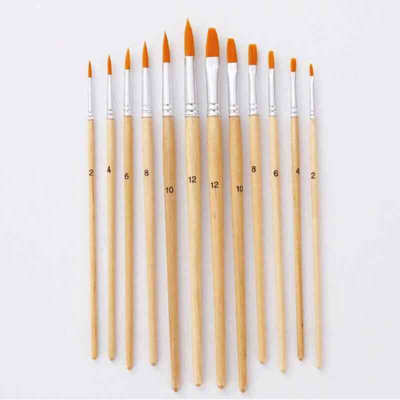 Different Size Log Color Nylon Hair Oil Painting Brushes Set