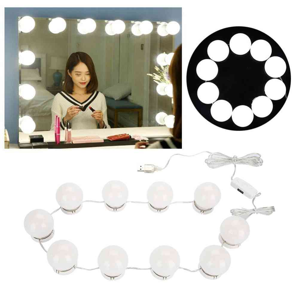10 Bulbs Makeup Mirror With Led Light, Vanity Mirror, Usb Charging Port For Cosmetic Bulb Brightness Lights