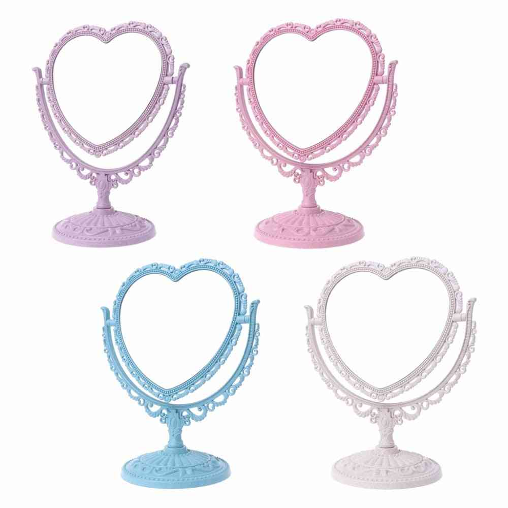 2 Sides, Heart Shaped - Makeup Mirror With Rotatable Table Stand