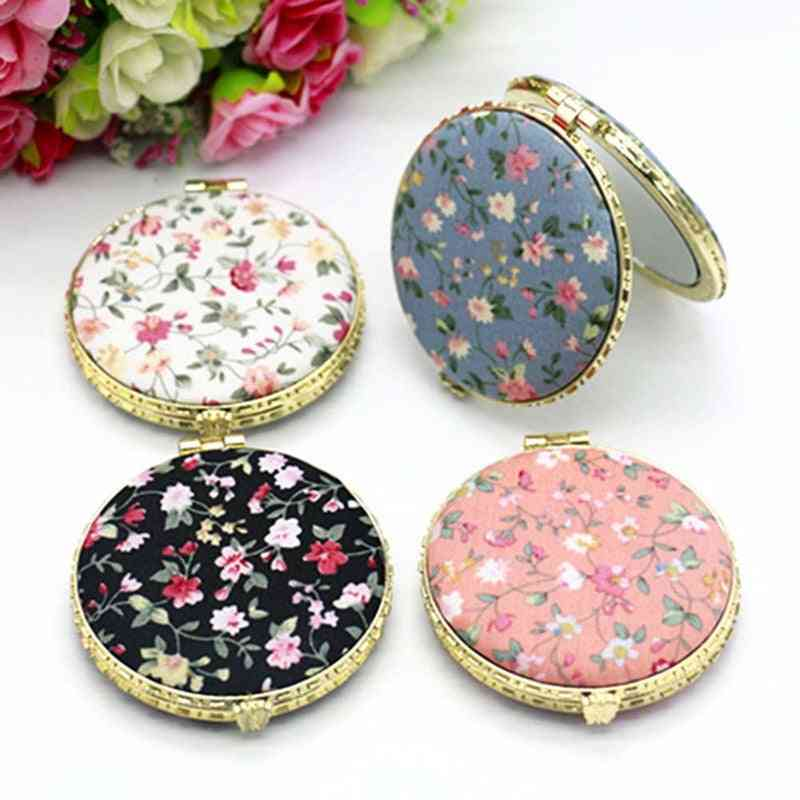 1pc Mini Makeup Compact Pocket Floral Mirror - Portable Two Side Folding Make Up Mirror For Women