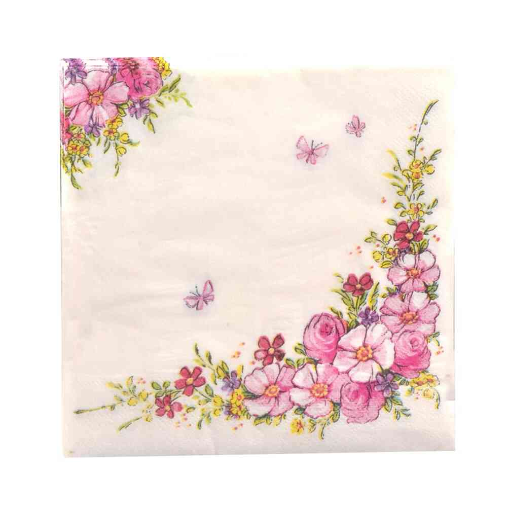 Floral Print, Paper Napkins For Parties, Hotels And Restaurants