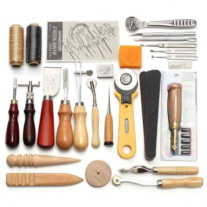 Leathercraft Tools Kit - Hand Sewing Stitching Punch Carving Work Saddle Leathercraft Accessories
