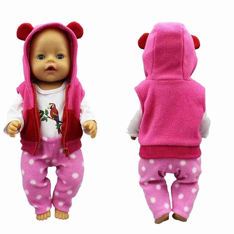 Doll Clothes For 18 Inch - Doll Vest Jacket, Shirt And Pants For Baby New Born Doll Toys Accessory Baby Girl