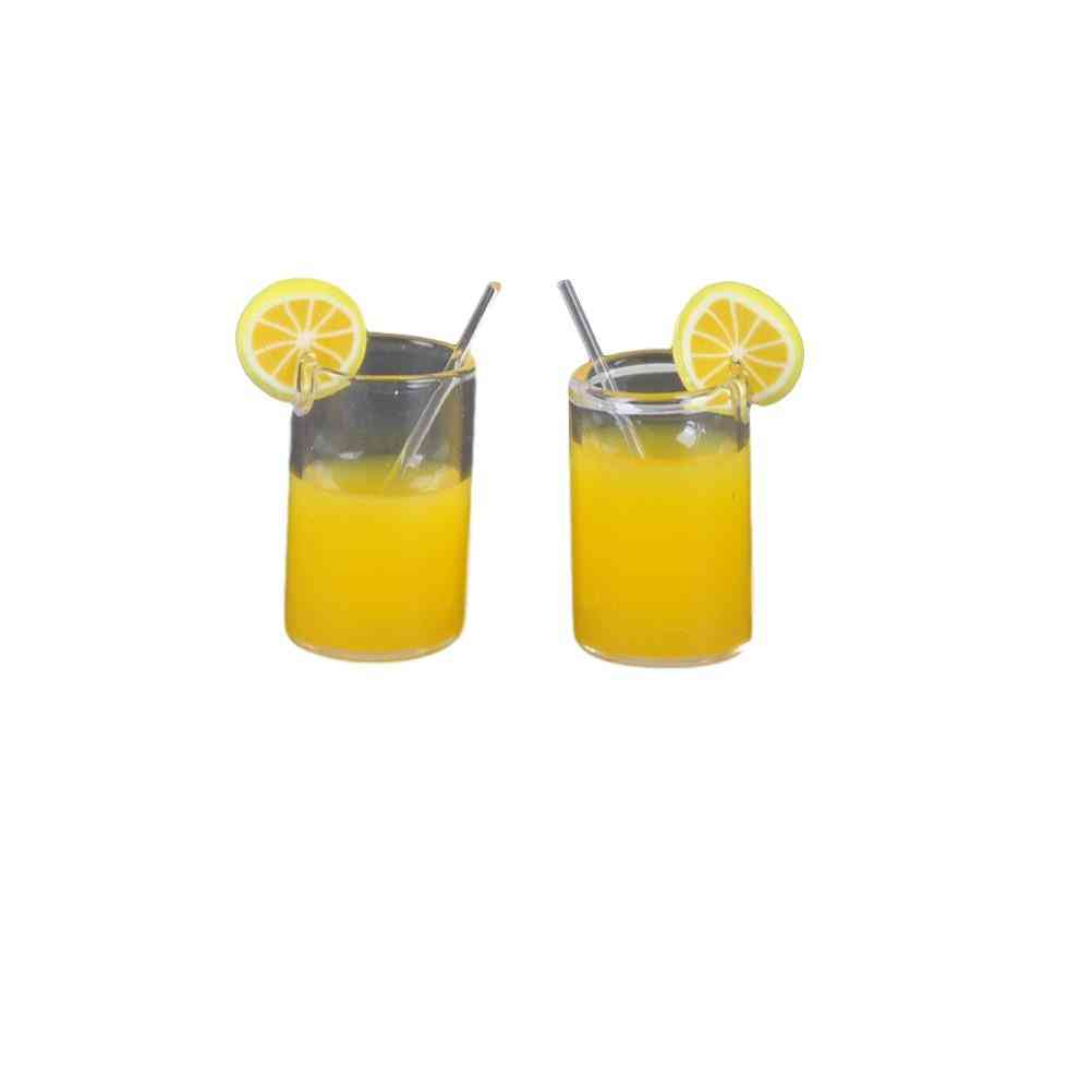 Mini Resin Lemon Water Cup - Dollhouse Miniature Accessories Cups Toy