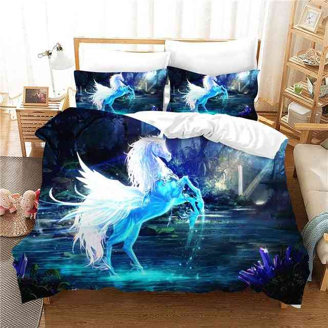 Unicorn Printed No Sheets Quilt Cover And Pillow Case