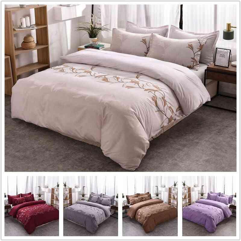 Simple Luxury Plain Jacquard Floral Printed Bed Linen Duvet Cover Set