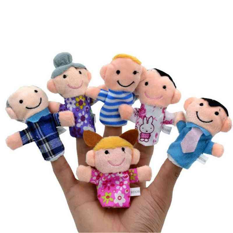 6 Pcs/lot Finger Family Puppets Set - Mini Plush Baby Toy , Finger Puppets To Learn Story