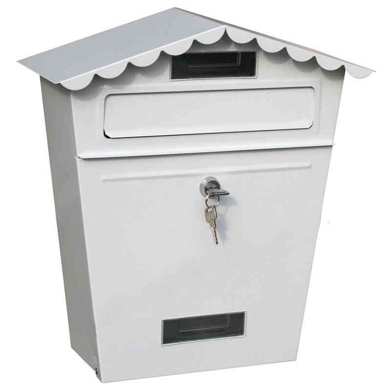 Lockable Secure Mail Letter Vintage Stainless Steel Metal Mailbox