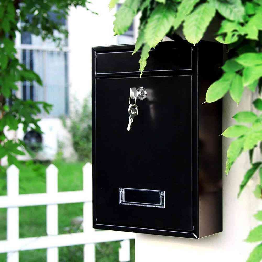 Outdoor Lockable Wall Mounted Hanging Iron Letter With Key Password Mailbox