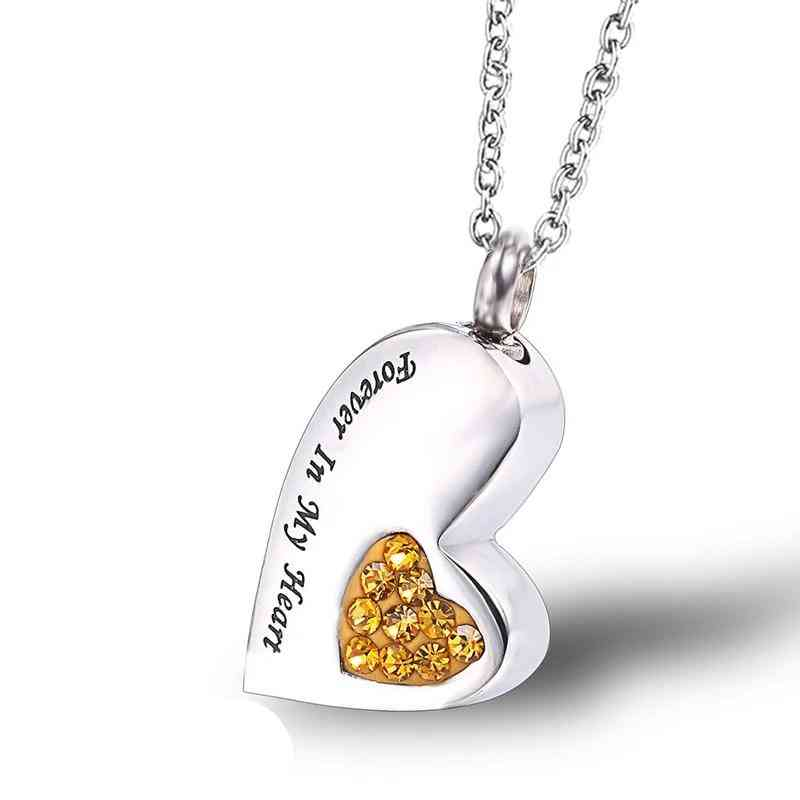 Heart Shape Necklace Pendant Urns For Cat Dog Ashes Memorial - Pet Animals Urn Necklace Keepsake Funeral