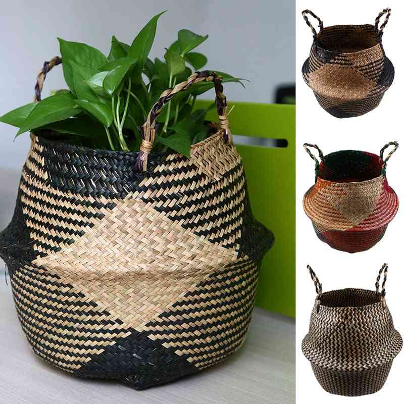 Handmade Rattan Woven Flower Basket - Seagrass Clothing Storage Bucket For Home Decoration