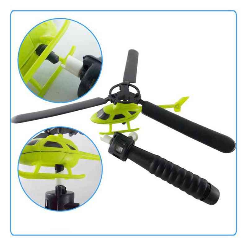 Helicopter Outdoor Toy For Kids - Helicopter Toy, Pull String Handle Helicopter
