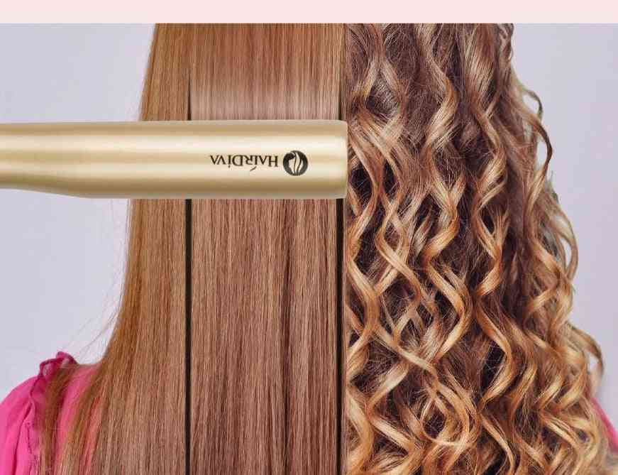 Professional 2 In 1 Hair Curling And Straightening Iron With Twist Heating Plate