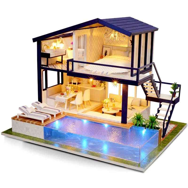 Wooden Furniture Diy Doll House - Miniature Box , Puzzle Assemble, 3d Miniaturas Doll House Kits Toy