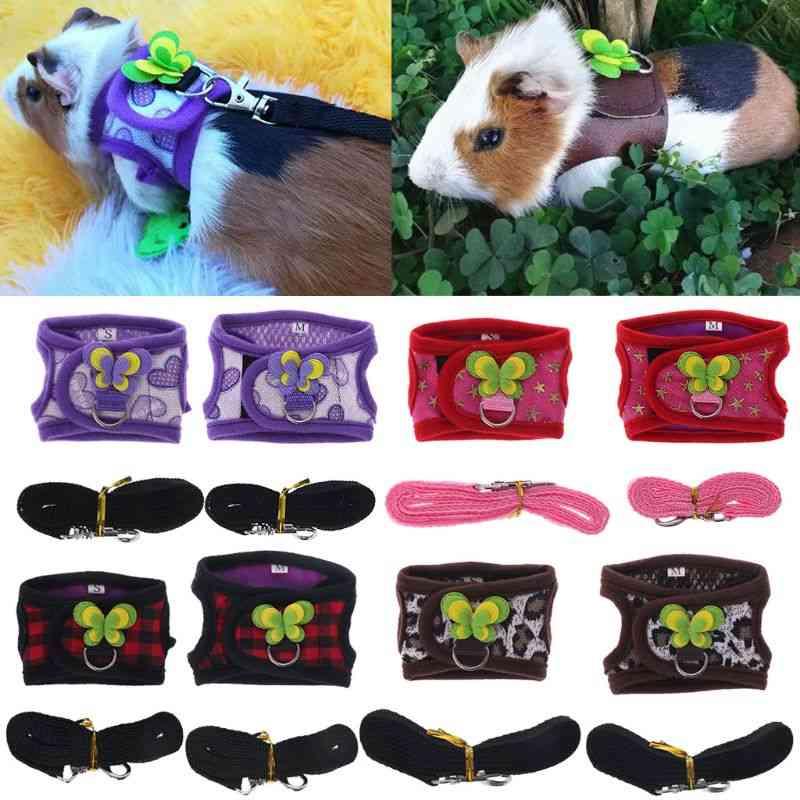 Adjustable Harness Vest Leash Set For Guinea Pig, Chinchilla, Mice, Small Animals
