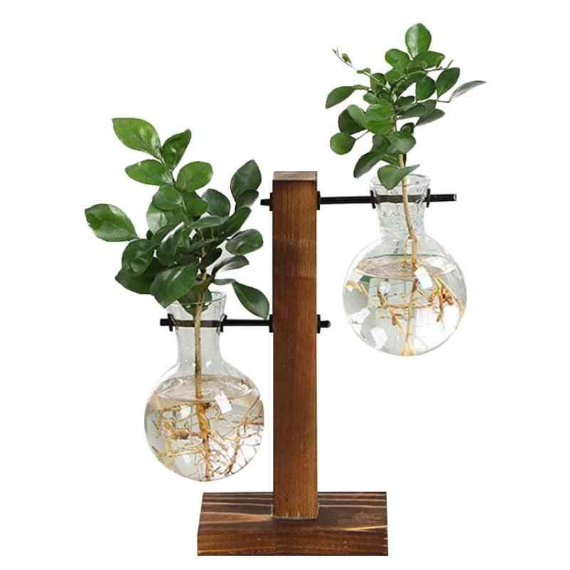 Terrarium Hydroponic Plant Vases, Vintage Flower Pot Transparent Wooden Frame Glass Tabletop Plants