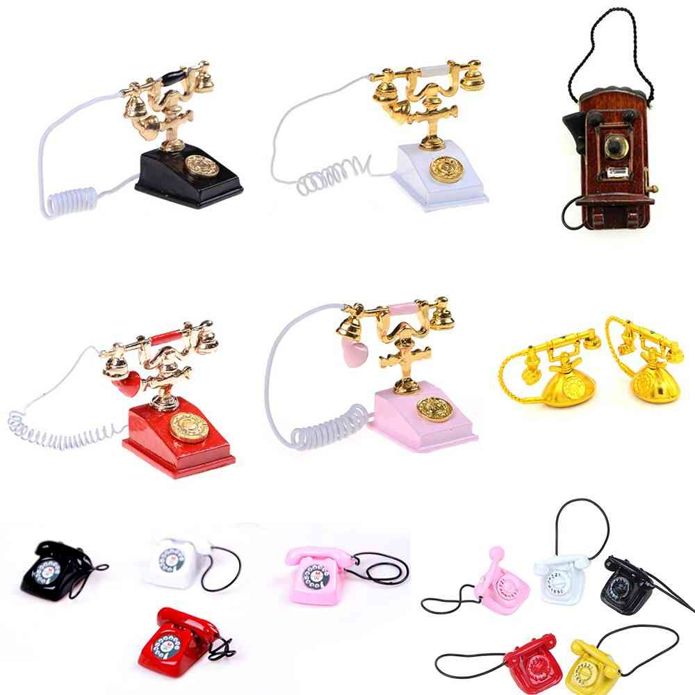 Retro Style Desk Telephone For Doll Houses Furniture