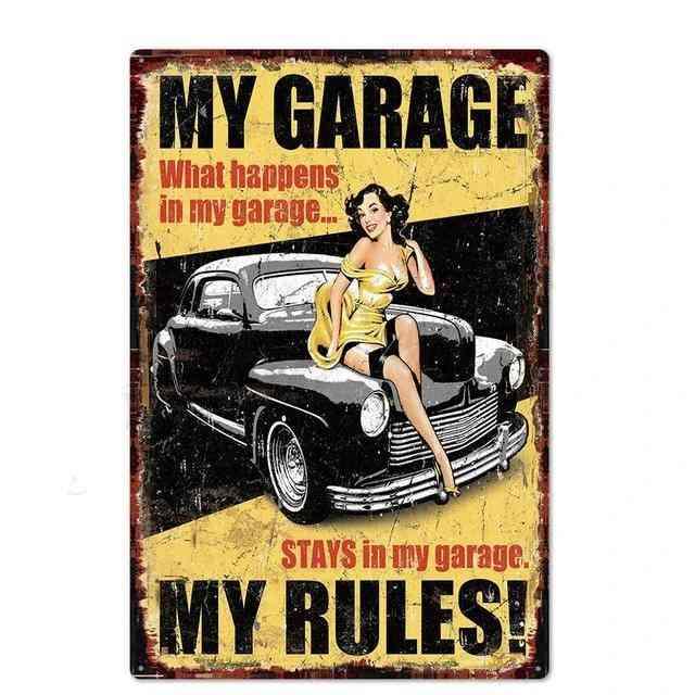 Vintage Garage Metal Sign - Garage, Car Repair Metal Wall Art Decor Metal Tin Sign
