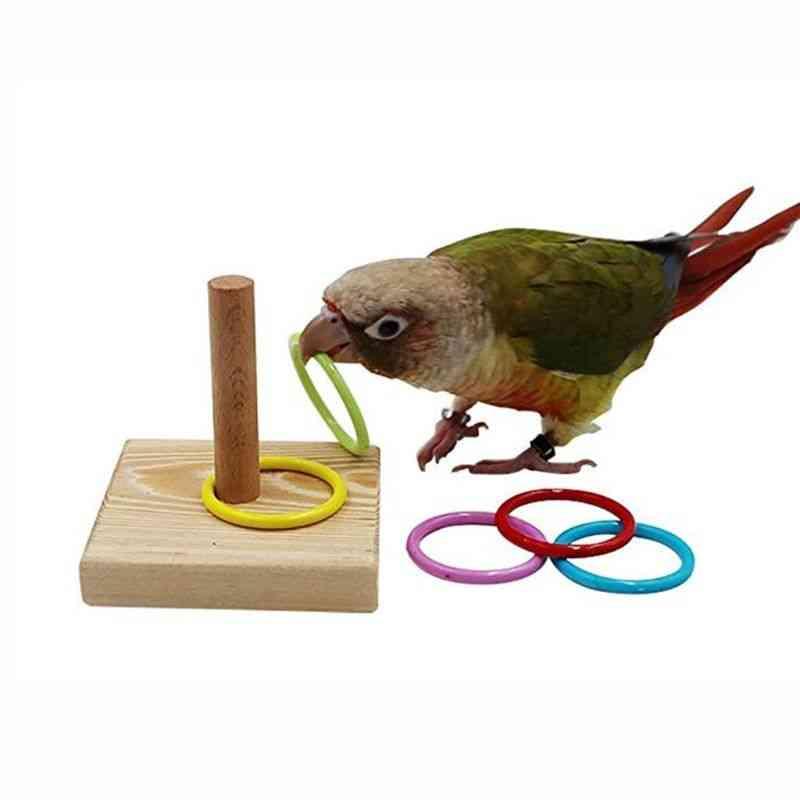 Wooden Bird Parrot Platform Plastic Ring Intelligence Training Chew Toy