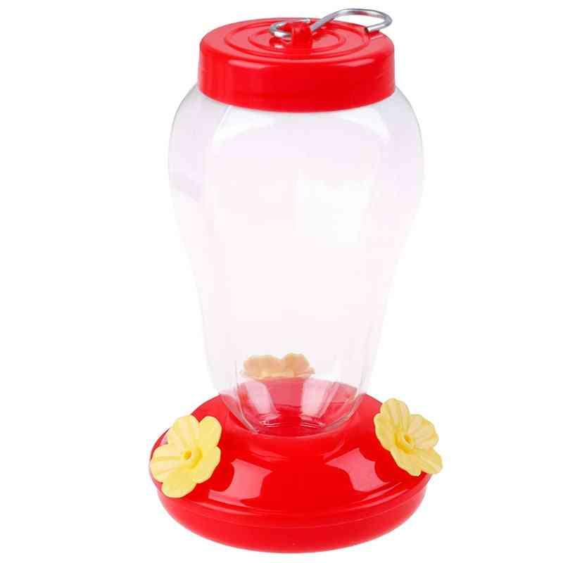Plastics Bird Water Feeder Bottle, Hanging Hummingbird Feeder- Garden Outdoor Plastic Flower Iron Hook Bird Feeder