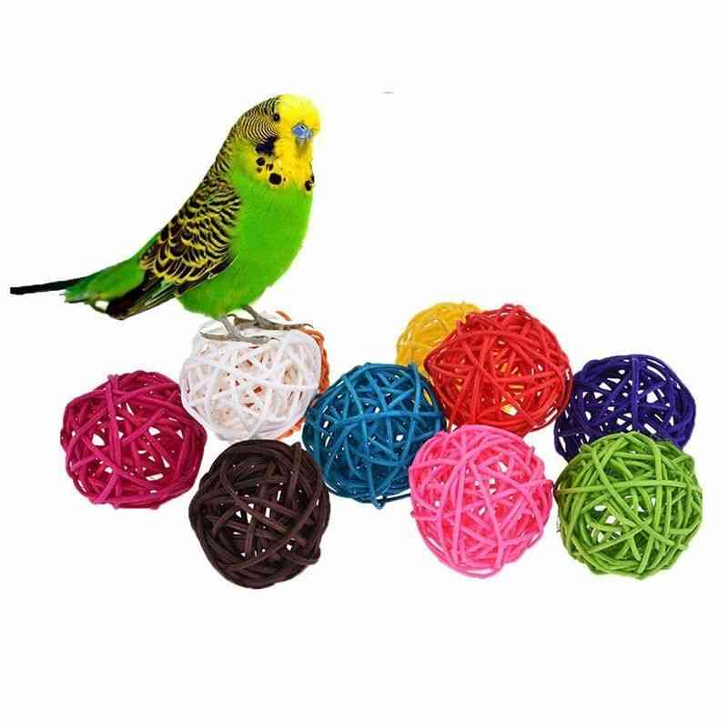 Colourful Rattan Balls Parrot Bird Interactive Bite Chew For Parakeet Budgie Cage