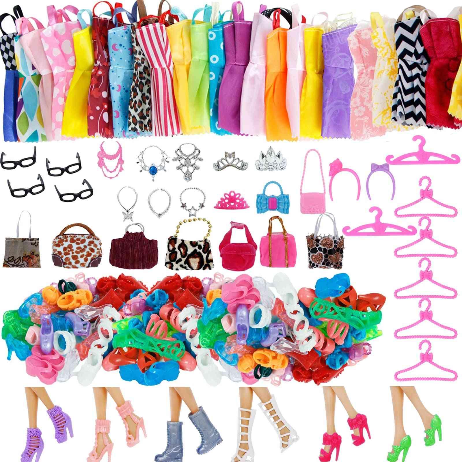 Random 1 Set For Barbie Doll, Boots, Mini Dress, Handbags, Crown Hangers, Glasses - Doll Clothes Kids Toy