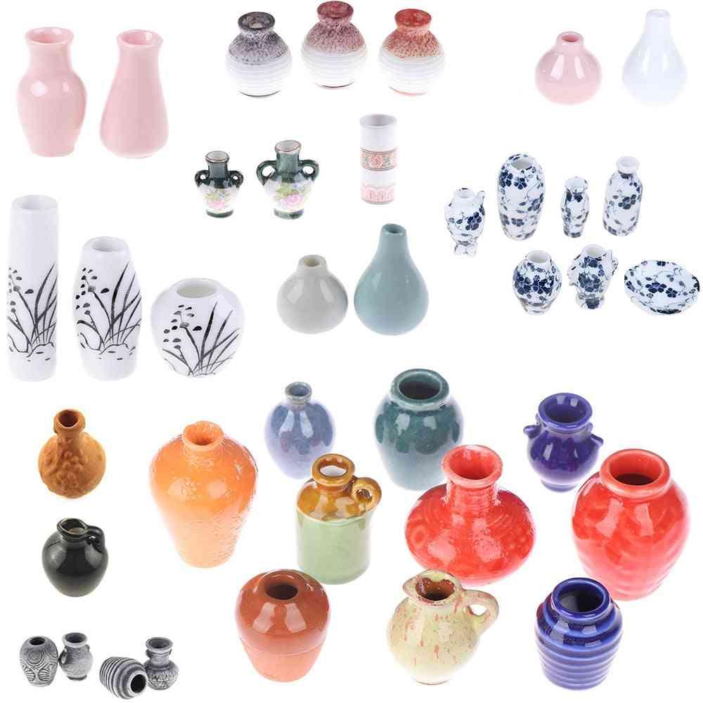 Dollhouse Mini Ceramic Porcelain Vase Accessories