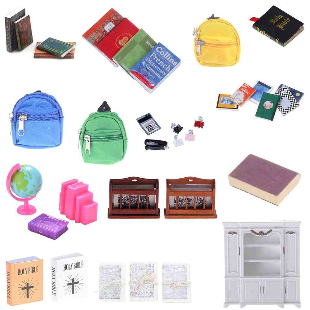 Bookshelf Notebook Newspaper, Backpack, Caculator, Clamp Model Doll House Kid