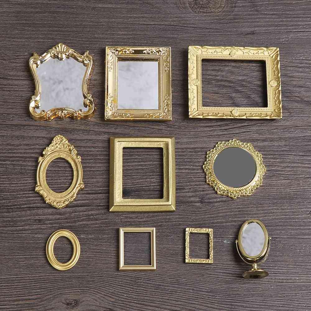 1:12 Scale Photo Frames -retro Mirror For Dollhouse