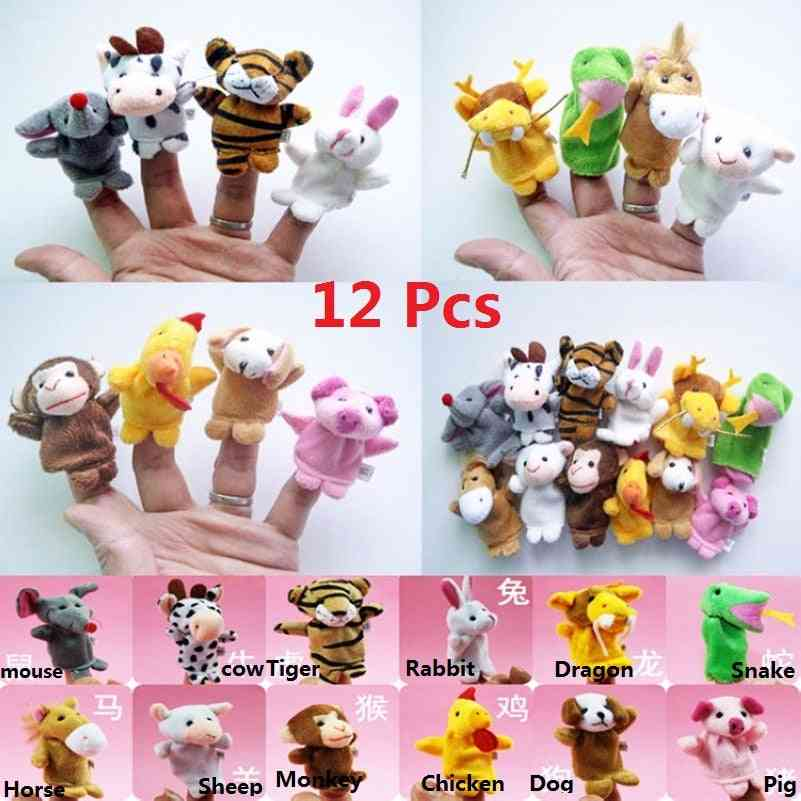 High Quality Chinese Zodiac Signs Animals Cartoon Biological Finger Puppet Plush