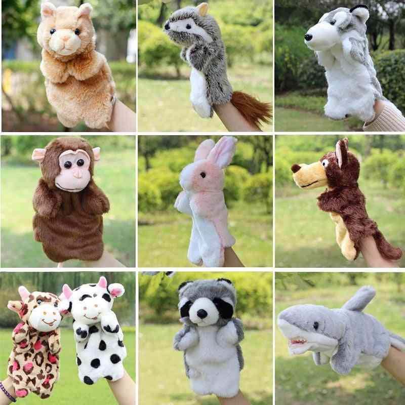 Animal Hand Puppet Marioneta Dolls Plush Elephant, Panda, Cat, Hand Doll Learning Baby