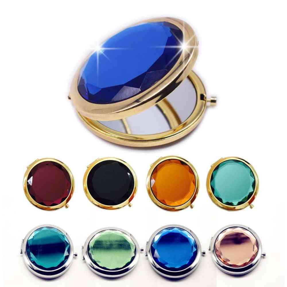 1pc Luxury Crystal ,portable .round , Folded Makeup Mirror - Compact Mirror Gold / Silver Making Up For Personalized