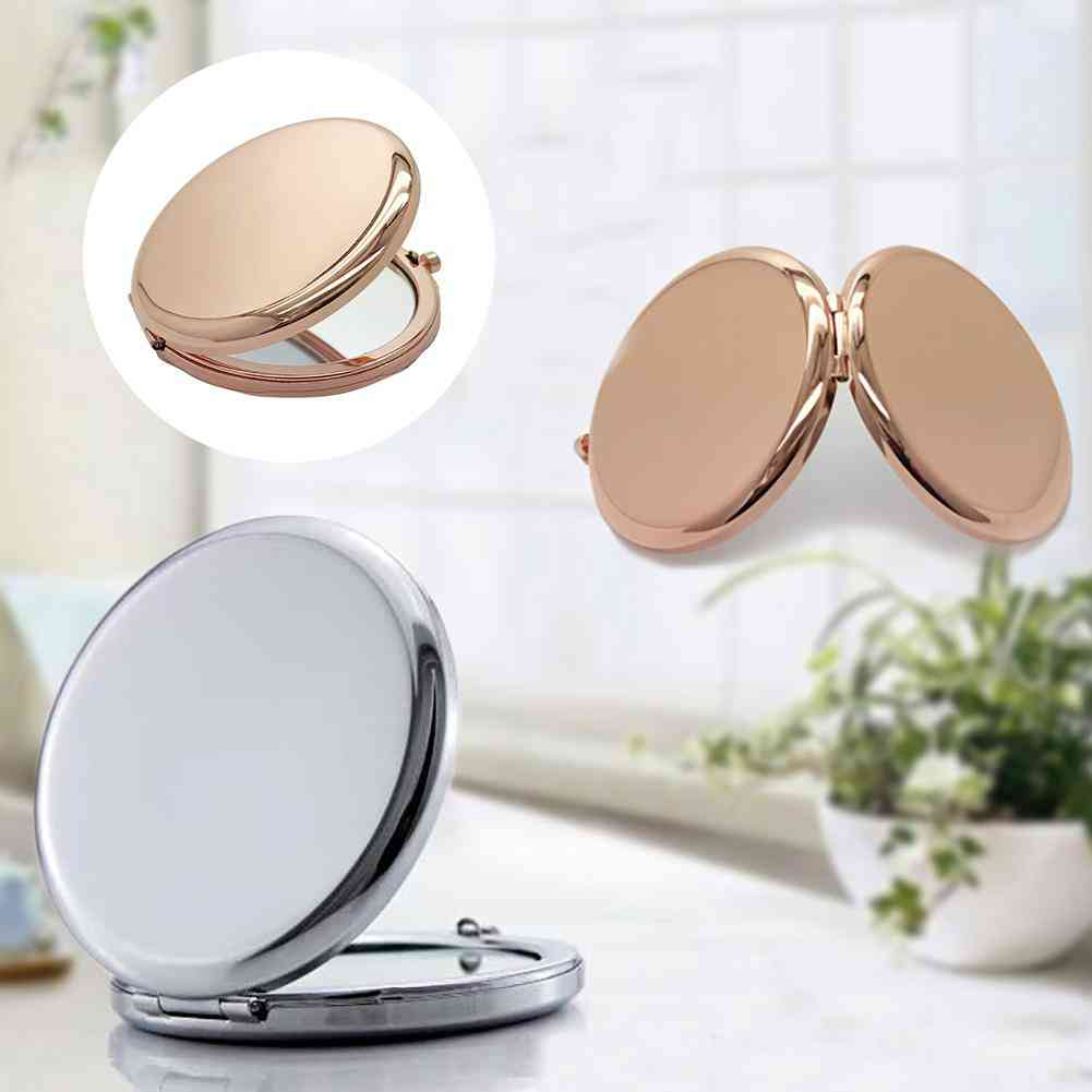 1pc Portable Makeup Mirror -solid Color Metal ,round Case ,double Side ,pop Up Pocket Mirror For Beauty Accessories