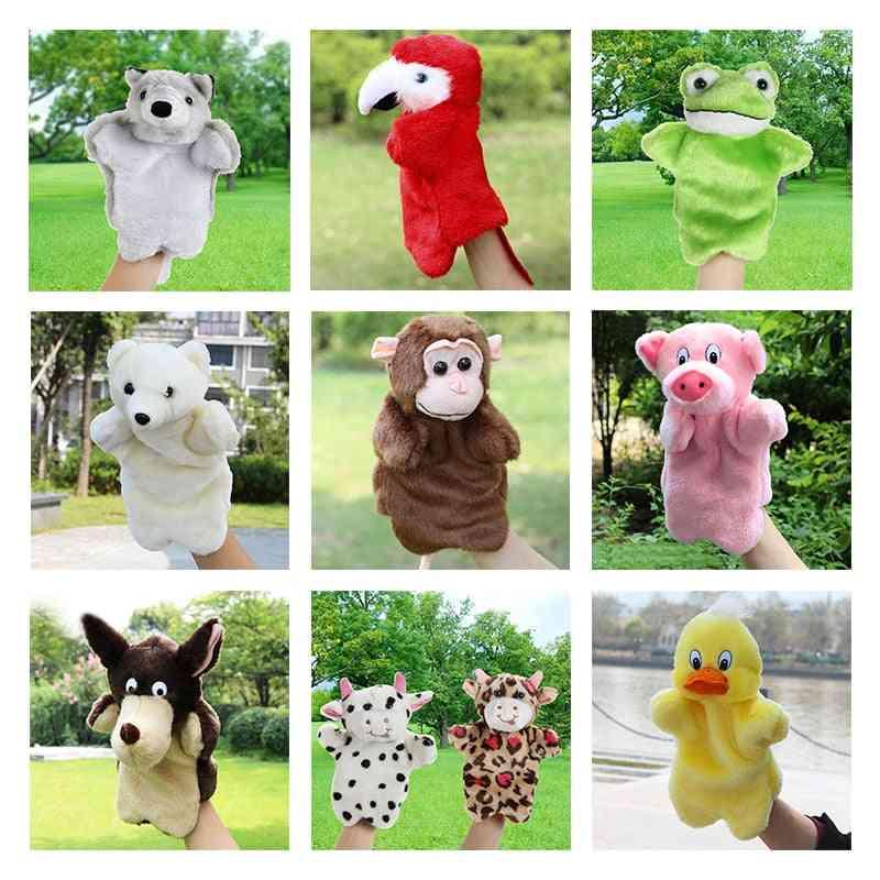 Animal Hand Puppet Marioneta Dolls Plush Elephant, Panda, Cat Learning Baby