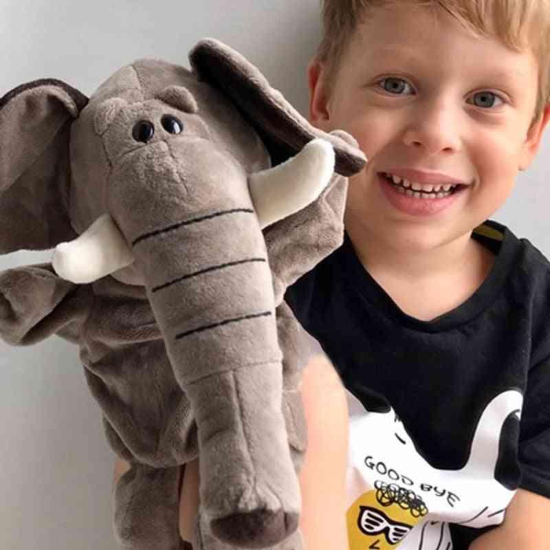 Animal Plush Hand Puppets Gloves For Kids, Elephant Plush Doll Story Telling Props Finger