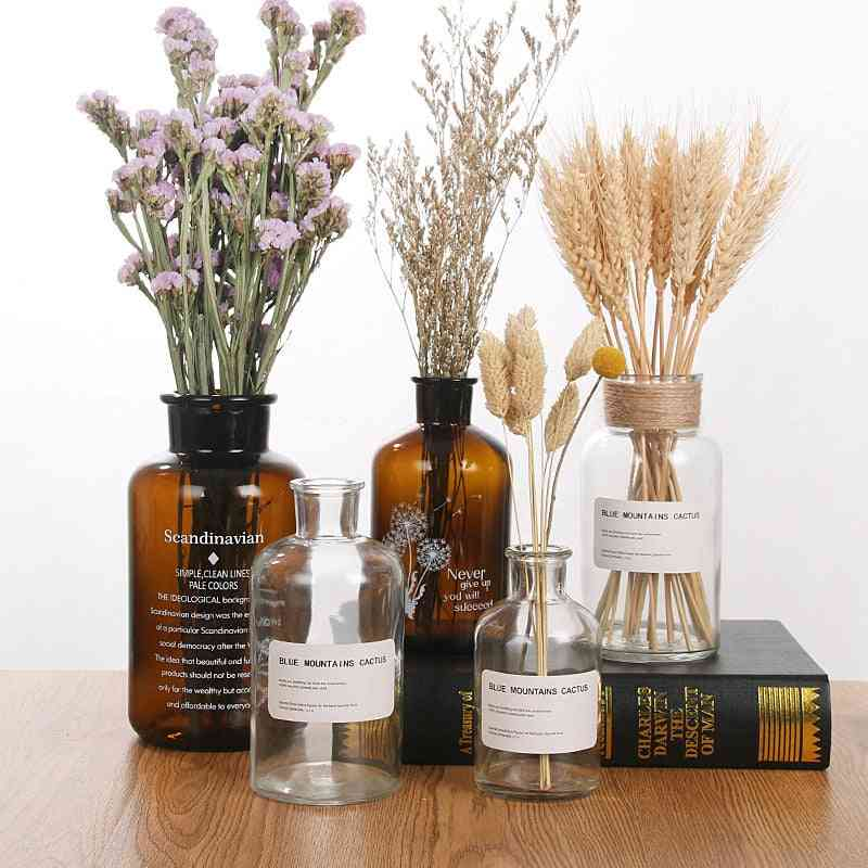 Ins Wind Glass Reagent Vase, Hydroponic Dried Flower Small Vase Living Room Decoration With Rope And Sticker