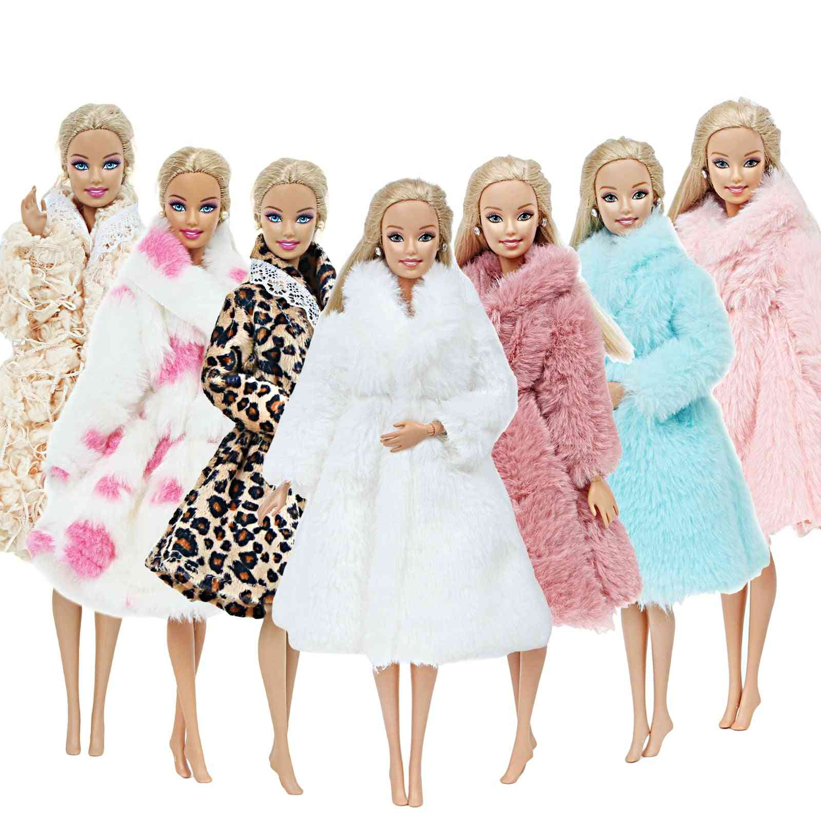 Handmade, High Quality Fur Coat Dress For Barbie Doll - Winter Wear Outfit