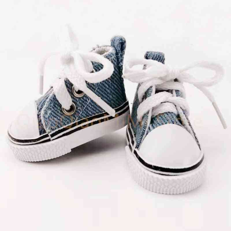 Doll Shoes 5cm High Top Canvas Bjd , Handsome Candy Color Sneakers - Fashion Shoes For Doll
