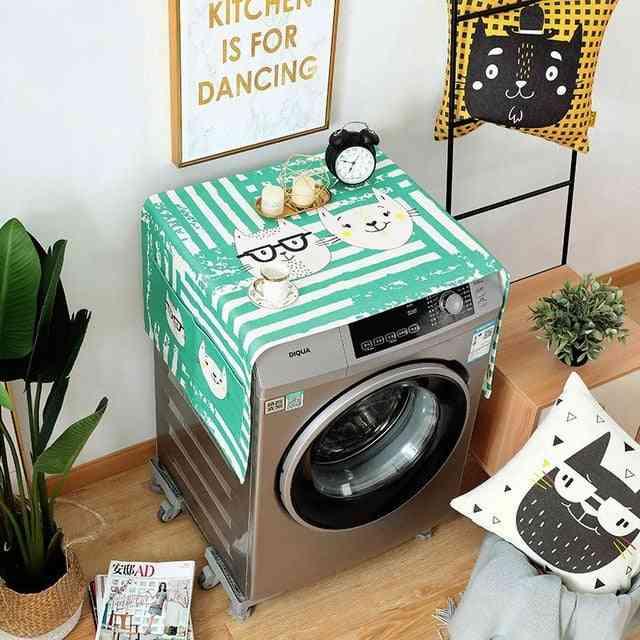 Geometric Cotton Linen Washing Machine Refrigerator Organizer Fridge Dust Cover Home Decor
