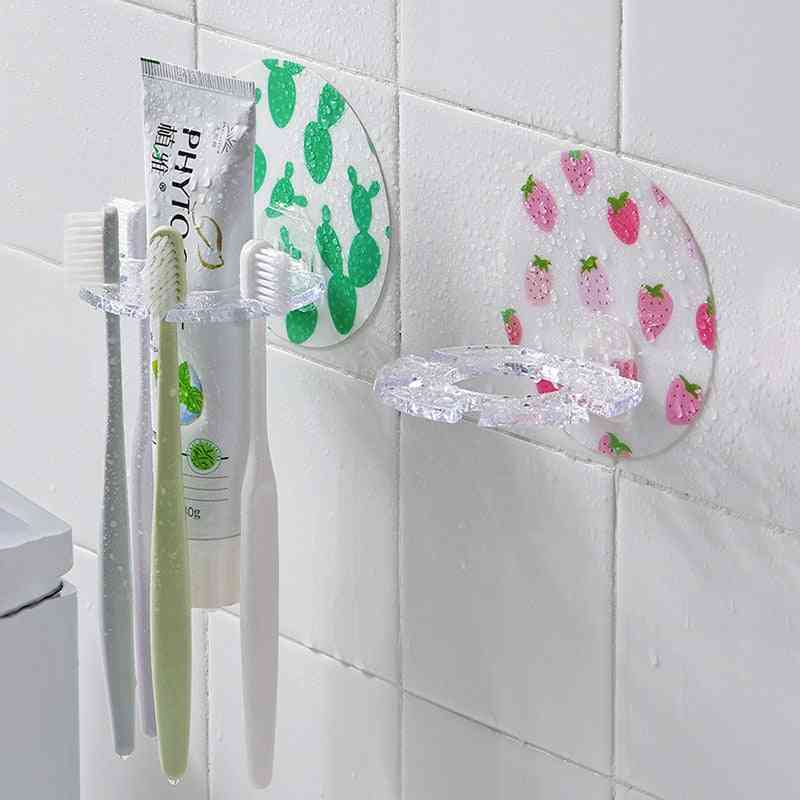 Bathroom Wall Mounted Toothpaste Toothbrush Holder, Shaver Shelf - Plastic Tooth Brush Case Organizer