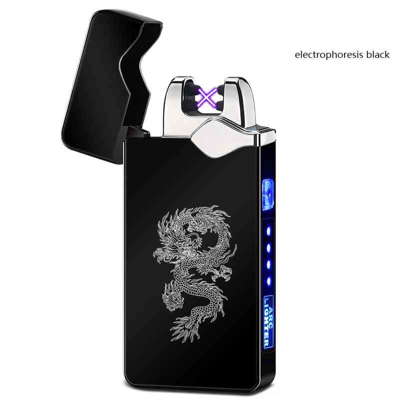 Rechargeable Dual Arc Usb Metal Electronic Cigarette Lighter, Windproof Smoke Flameless