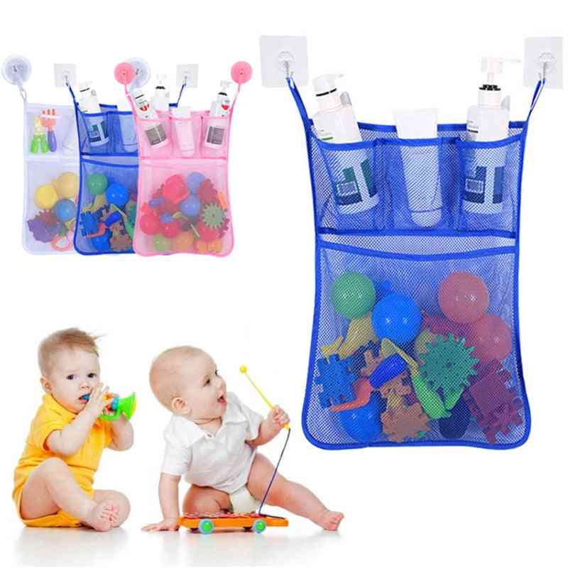 Hanging Basket For Kids Bath Organization- Bag With Suction Cup