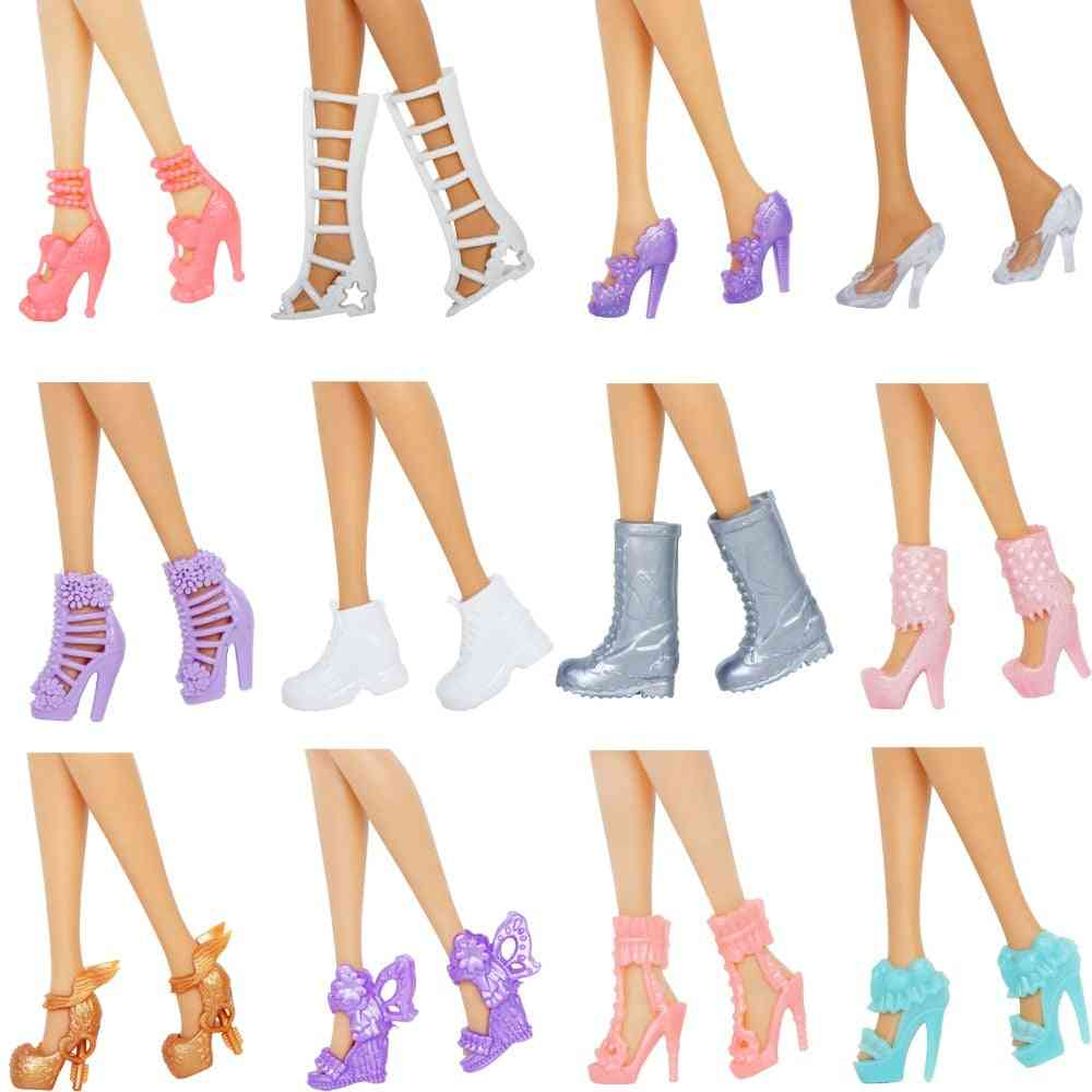 Mix Style 12 Pairs Doll Shoes - High Heels Sandals, Boots Colorful Assorted Shoes Accessories For Barbie Doll