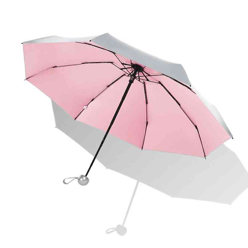 Mini Umbrella Anti Uv Sun, Rain, Windproof Light Folding Umbrellas For Women, Men,