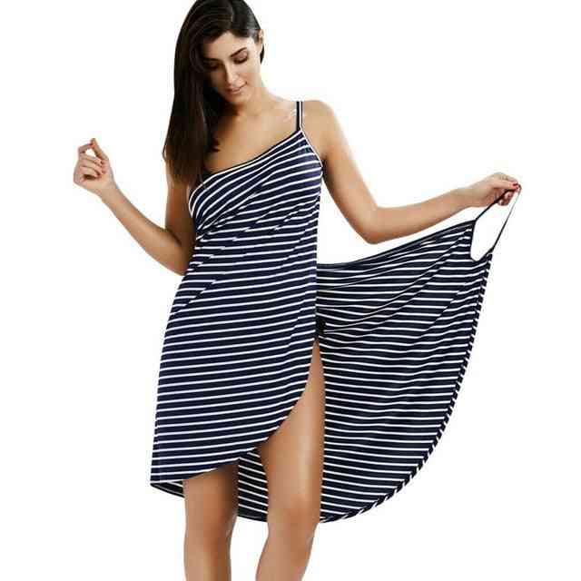 Robes Bath Wearable Stripe Towel For Woman